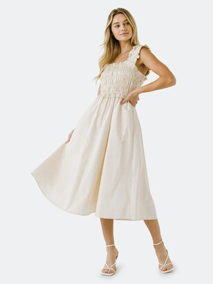 ENGLISH FACTORY Ruffled Shoulder Straps Midi Dress