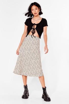 Nasty Gal Womens Spot the Difference Bias Cut Midi Skirt - Beige - 6