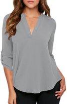 Dearlovers Women Summer Soft Loose 3/4 Sleeve Shirts Blouse Tops Royal Blue