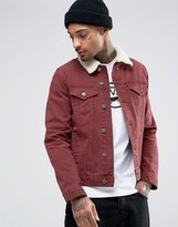 Asos Slim Denim Jacket in Burgundy with Fleece Collar