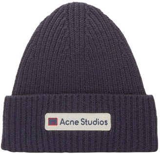 Acne Studios Navy Ribbed Beanie Hat