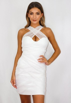 Missguided White Mesh Ruched Bandeau Bandage Mini Dress