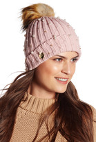 Betsey Johnson Crazy For Pearls Faux Fur Pompom Cuff Hat