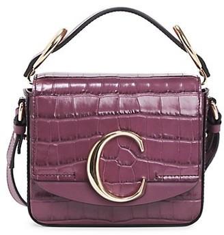 Chloé Mini C Croc-Embossed Leather Crossbody Bag