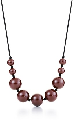 Tiffany & Co. Elsa Peretti sphere necklace in brown lacquer over Japanese hardwood