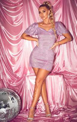 PrettyLittleThing Purple Glitter Puff Sleeve Low Back Bodycon Dress
