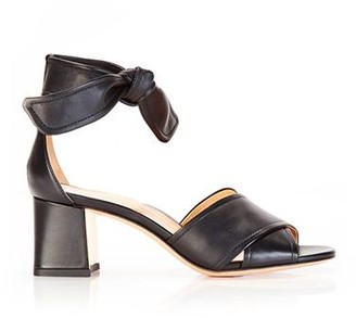 Marion Parke Bella Black | Leather Block Heel Ankle Tie Sandal