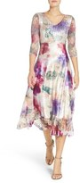 Komarov Petite Women's Charmeuse & Lace Midi Dress