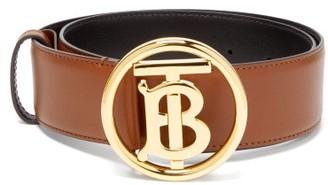 Burberry Tb-logo Leather Belt - Womens - Tan