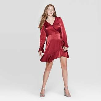 Xhilaration Women's Long Sleeve Deep-V Neck Lace Trim Satin Wrap Mini Dress - XhilarationTM Burgundy