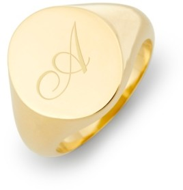 brook & york Claire Initial Signet Gold-Plated Ring