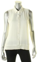 MICHAEL Michael Kors Womens Crepe Button-Down Tank Top