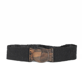 Spiegel Stretchy Beaded Belt with Hand-Carved Wood Buckle