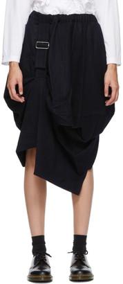 Comme des Garçons Comme des Garçons Navy Wool Harness Pull Skirt