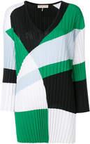 Emilio Pucci colour-block pleated V-neck jumper