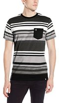 Southpole Men's Stripe Crew Neck T-Shirt with Irregular Color Graduating Stripes
