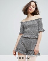 Monki Ruffle Gingham Bardot Top