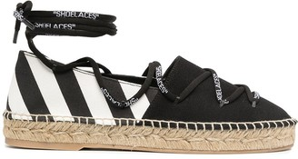Off-White Lace-Up Flat Espadrilles