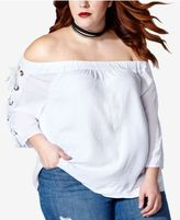 Mblm by Tess Holliday Trendy Plus Size Lace-Up Off-The-Shoulder Top