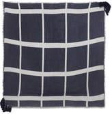 Chloé Pom Pom Frayed Wool, Silk And Cashmere-blend Scarf - Blue