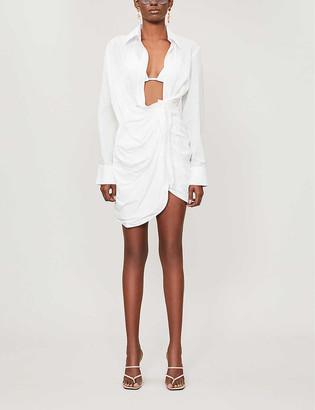 Jacquemus Bahia plunging-neckline cotton shirt