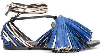Jil Sander Tassel And Braided-leather Sandals - Womens - Blue White