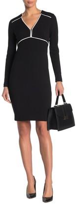 Calvin Klein Piped Long Sleeve Sheath Dress