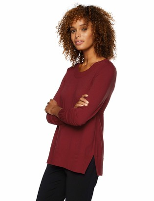 Lark & Ro Women's Premium Viscose Blend Long Sleeve Crewneck Side-Slit Sweater