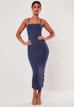 Missguided Blue Rib Square Neck Midi Dress