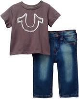 True Religion Reflective Horseshoe Tee & Jean 2-Piece Set (Baby Boys)