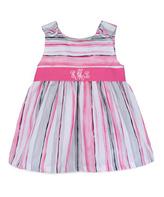 Princess Linens Pink & Gray Stripe Monogram Dress - Infant, Toddler & Girls