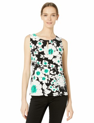 Nine West Women's Sleeveless U-Neck Printed Knit TOP