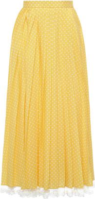 Miu Miu Lace-Trimmed Pleated Polka-Dot Crepe Midi Skirt