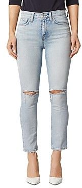 Hudson Holly Ripped Straight Jeans in Destructed Wash Out