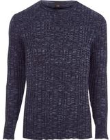 River Island Mens Big and Tall Navy ribbed jumper