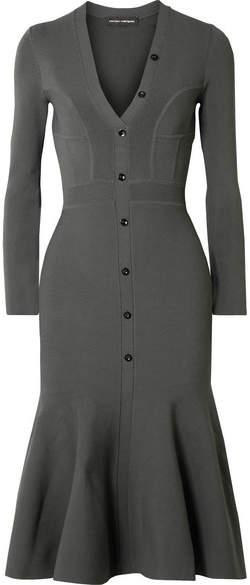 Narciso Rodriguez Paneled Stretch-knit Midi Dress - Gray green