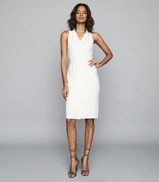 Reiss MACY KNITTED WRAP-EFFECT DRESS White
