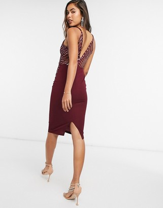 Girl In Mind lace cami midi dress in wine
