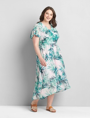Lane Bryant Crossover Flutter-Sleeve High-Low Midi Dress