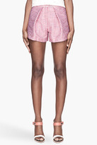 MSGM Red and pink jacquard woven Shorts