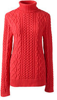 Lands' End Women's Lofty Blend Aran Cable Turtleneck Sweater-Vicuna Heather