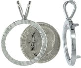 Sabrina Silver Sterling Silver 18 mm Dime (10 Cents) Coin Frame Bezel Pendant w/ Diamond Cut Finish (COIN is NOT Included)