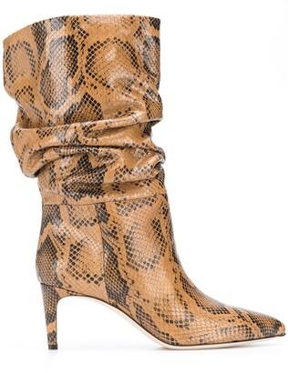 Paris Texas Snakeskin-Effect Slouchy Boots