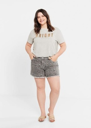 MANGO Violeta BY Metallic message t-shirt medium heather grey - XS - Plus sizes
