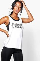 boohoo Womens Leah FIT Bridesmaid In Training Running Vest
