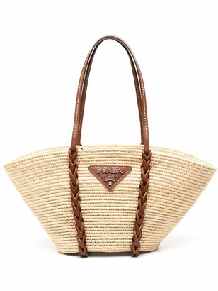 Prada Straw Basket Tote Bag