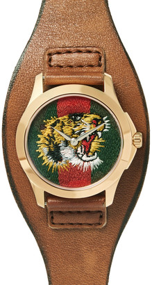 Gucci Le Marche Des Merveilles 38mm Gold-Tone And Leather Watch