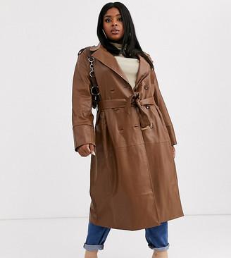 Unique 21 Hero Plus UNIQUE21 Hero Plus faux leather belted maxi coat-Brown