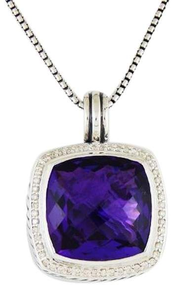 David Yurman Albion Sterling Silver Amethyst Diamonds Pendant