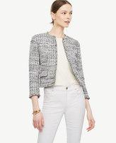 Ann Taylor Petite Grid Fringe Tweed Open Jacket